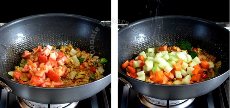 Adding vegetables to pork and spices