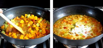 Pouring coconut cream over pork and vegetables to make curry