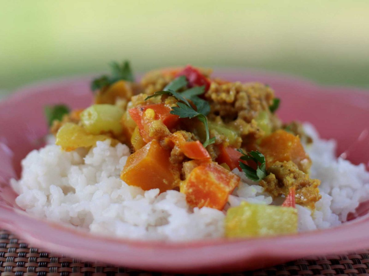 Ground Pork and Vegetable Curry Rice Bowl