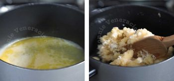 Mixing melted butter and flour to make choux pastry (pâte à choux)
