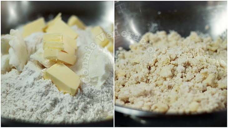 Rubbing cold butter and flour to make pie crust
