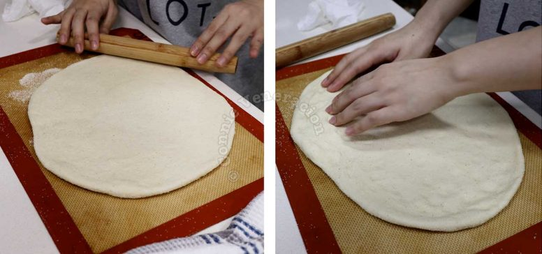 Rolling dough into a rectangle