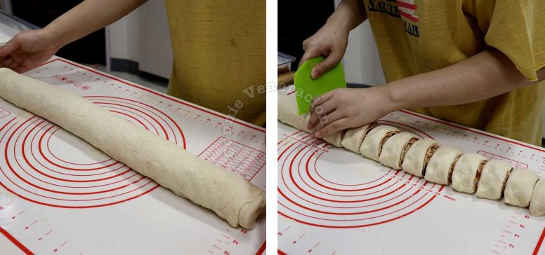 Cutting filled and rolled dough into portions