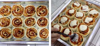 Spreading Mornay sauce on baked pizza rolls