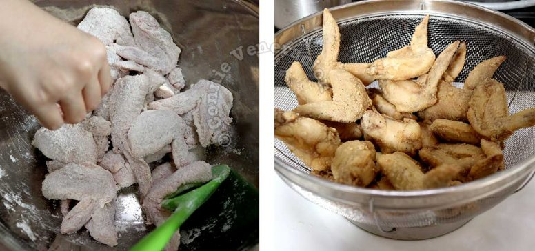 Flouring chicken before frying