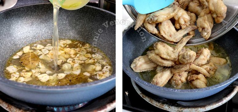 Pouring in chicken broth and adding fried chicken to sauce in pan