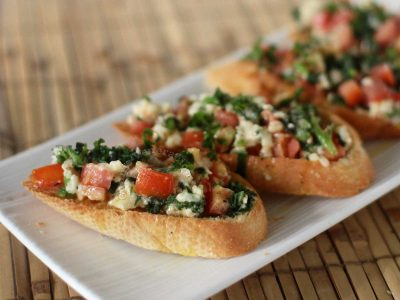 Spinach, Feta and Tomato Bruschetta