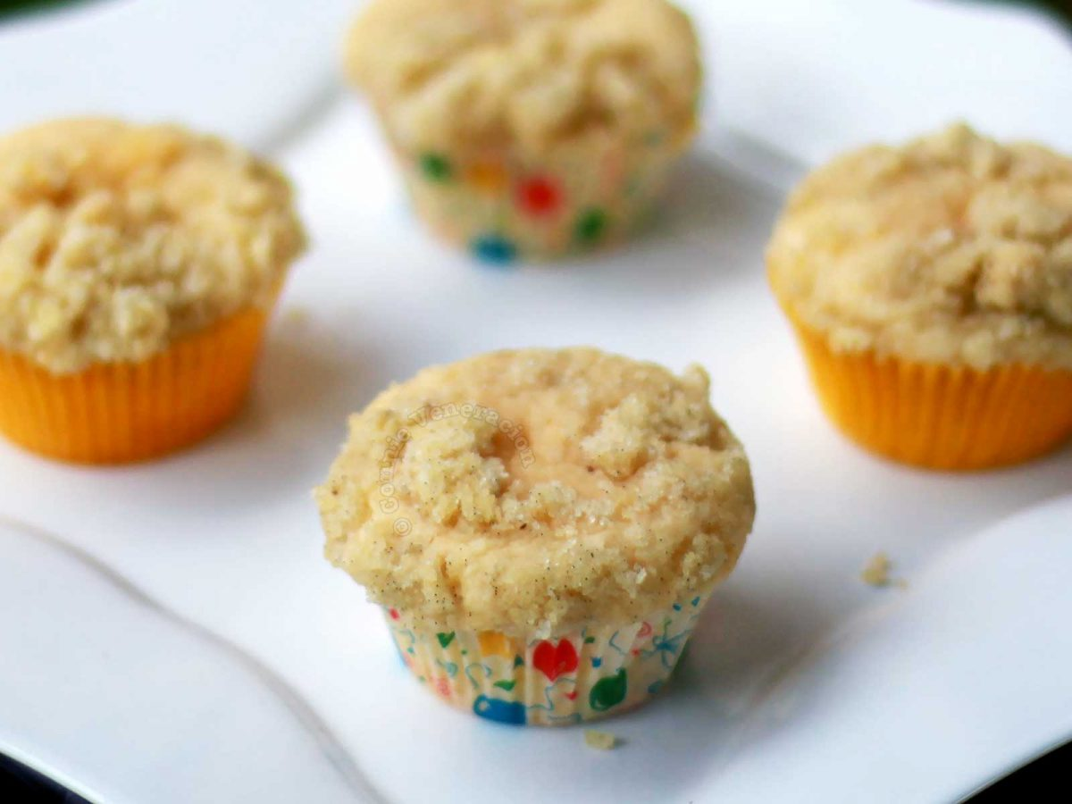 Vanilla streusel cupcakes on white square plate