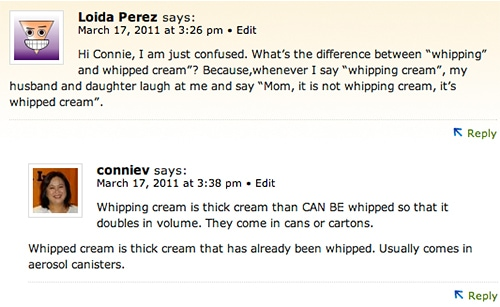 Screenshot of comment thread with reader asking about whipping cream