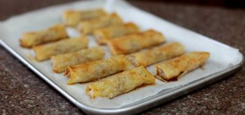 Baked apple spring rolls fresh from the oven