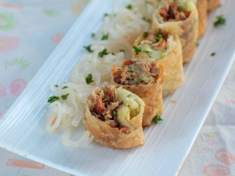 BBQ and Mashed Potato Spring Rolls Served with Sauerkraut