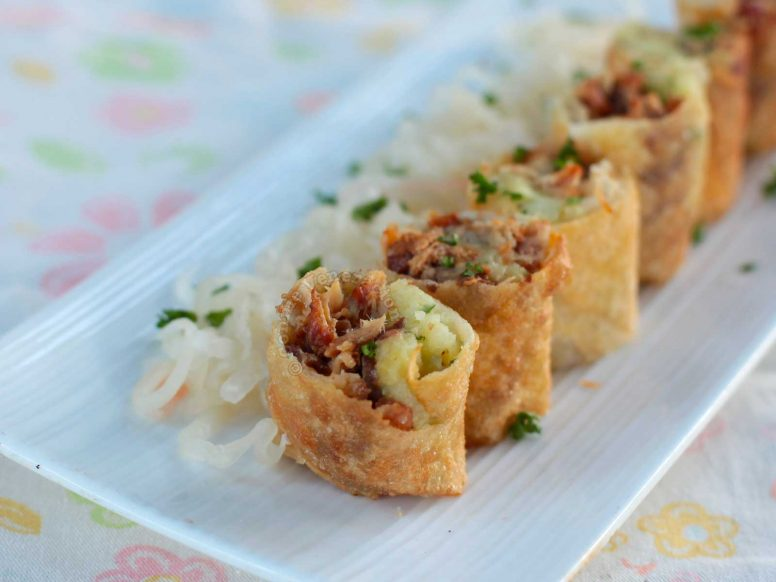 BBQ and Mashed Potato Spring Rolls
