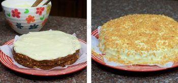 Frosting a carrot cake