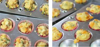 Corn and Cheese Mini Muffins Before and After Baking