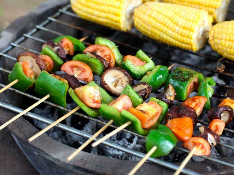 Grilled Skewered Mushrooms and Peppers