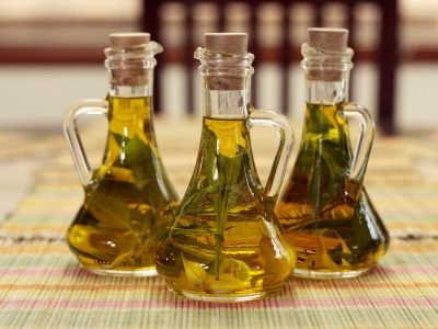 Homemade herb infused olive oil