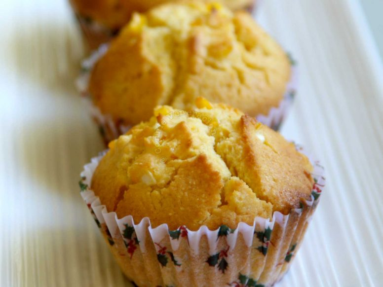 Corn Muffins a la Kenny Rogers on White Plate