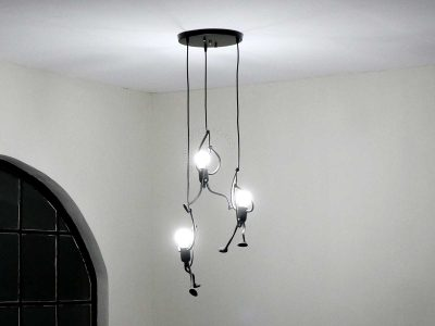 LED pendant lamps on the staircase