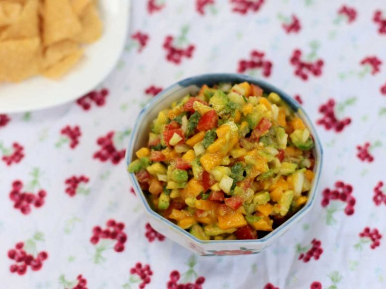 Mango and Avocado Salsa / Dip with Crispy Corn Tortilla Chips on the Side