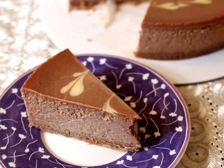 A slice of Nutella cheesecake