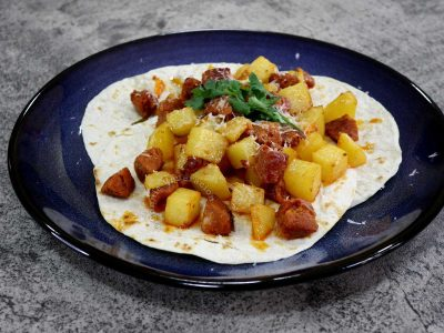 Papas con chorizo (potatoes with sausages)