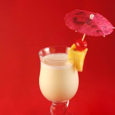 A glass of piña colada