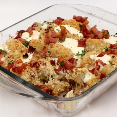 Cheesy potato and bacon casserole