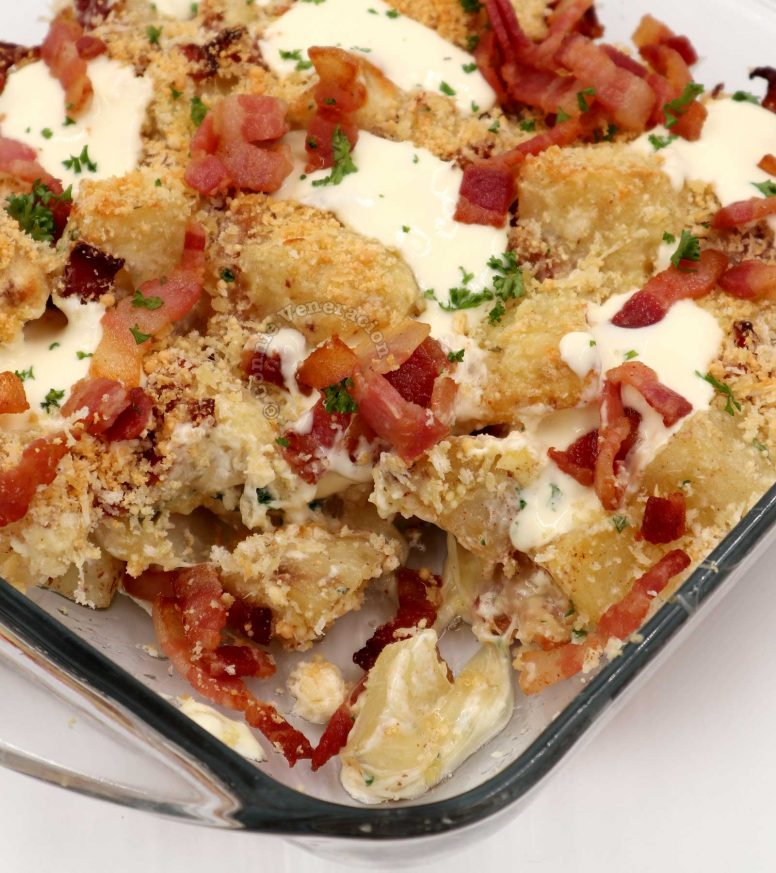Baked potato casserole with bacon and cheese