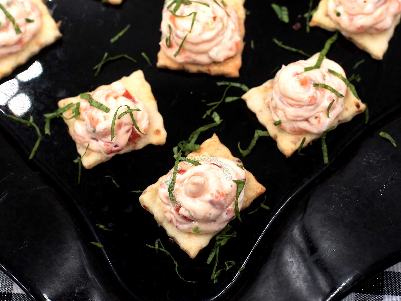 Smoked Salmon and Cream Cheese Dip / Spread Piped on Crackers