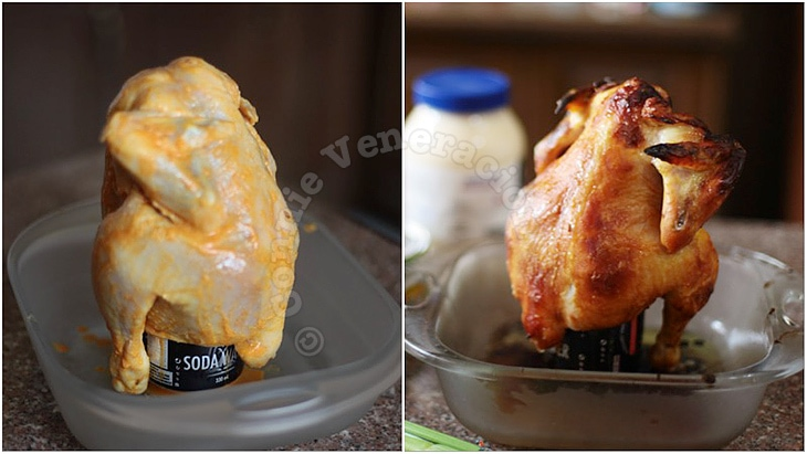 Soda can roast chicken before and after cooking