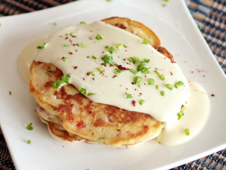 Bacon Pepper Pancakes with Cheese Sauce
