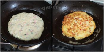 Cooking bacon pepper pancakes in pan