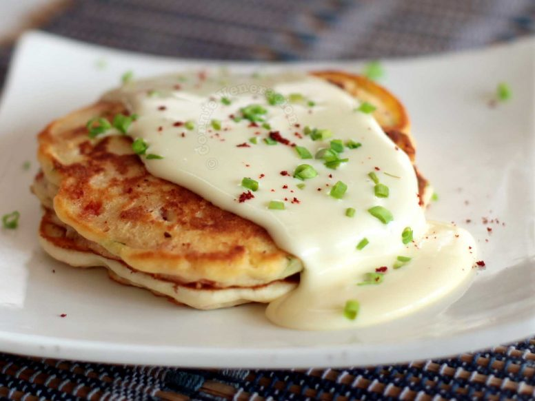 Bacon Pepper Pancakes Smothered with Cheese Sauce