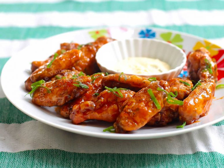 Baked Buffalo Chicken Wings with Blue Cheese Dressing