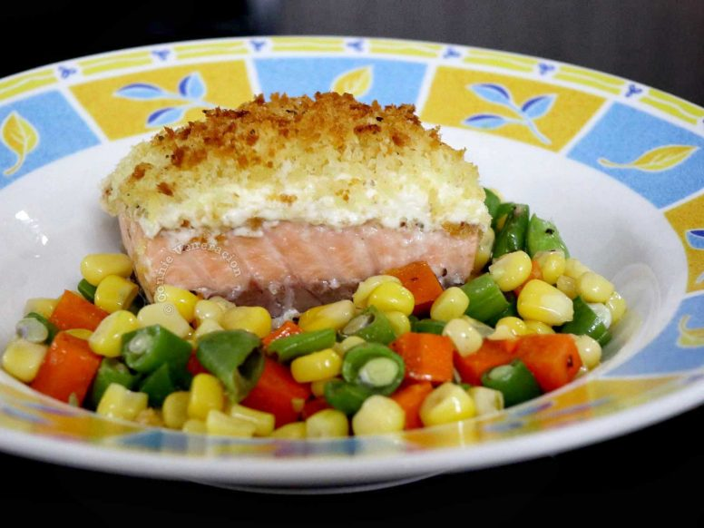 Cheesy Baked Salmon with Crispy Crumb Topping with Buttered Corn, Carrot and Green Beans on the Side