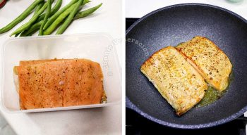 Searing marinated salmon fillets in butter