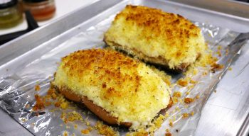 Cheesy Baked Salmon with Crispy Crumb Topping Straight from the Oven