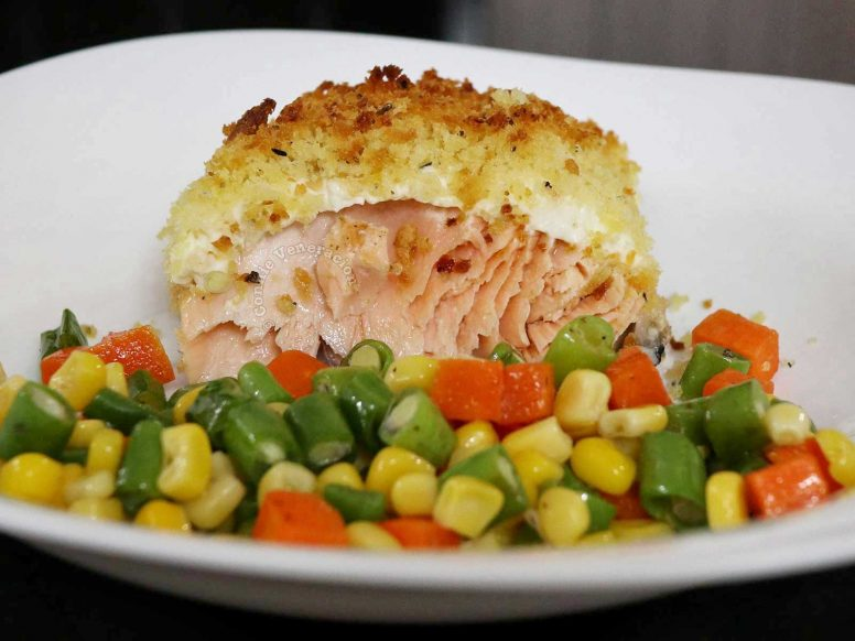 A Portion of Cheesy Baked Salmon with Crispy Crumb Topping