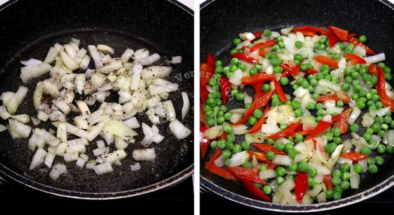Sauteeing onion and garlic then adding bell peppers and green peas