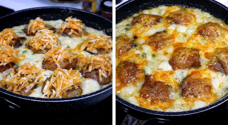 Adding cheese to Chicken Béchamel before broiling