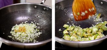 Sauteeing garlic and onion, then adding diced eggplant
