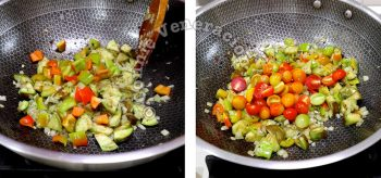 Tossing bell peppers, cherry tomatoes and eggplants with sauteed onion and garlic