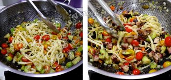 Adding pasta and smoked beef brisket to vegetables in pan
