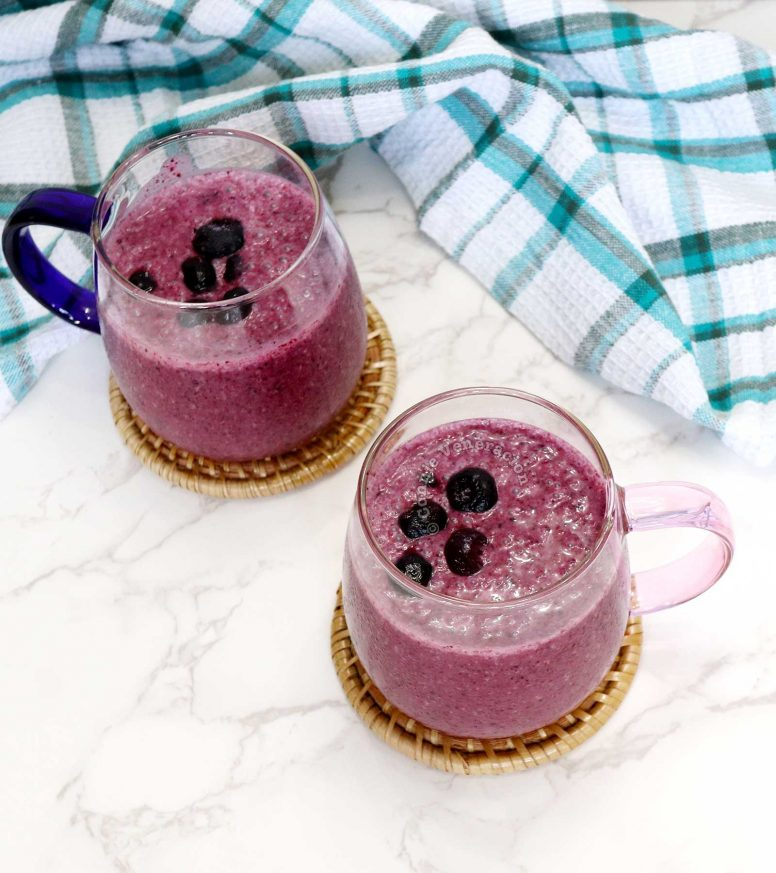 Blueberry Smoothie Topped with Whole Blueberries