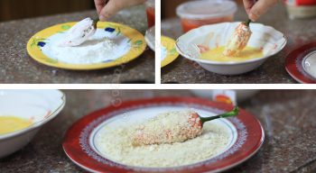 Coating cheese-stuffed bell pepper with bread crumbs
