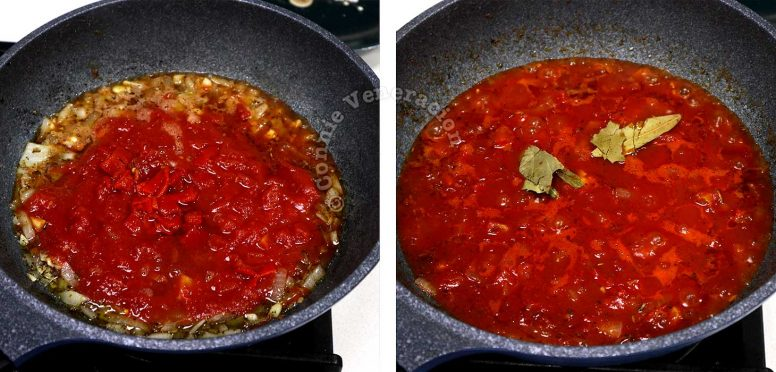 Adding diced tomatoes to sauteed onion, garlic and oregano