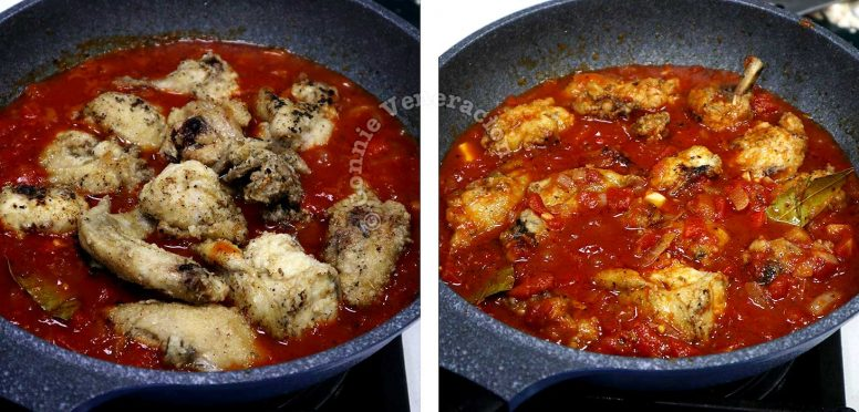 Adding pre-fried chicken to tomato sauce in pan