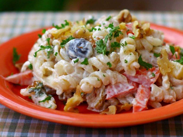 Cheesy Chicken Pasta Salad in Red Plate