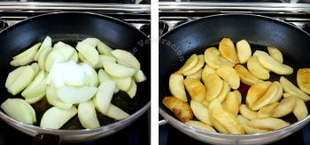 Caramelizing apple wedges with sugar and cinnamon