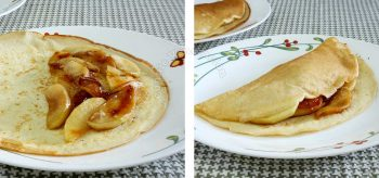 Stuffing a crepe with caramelized apples
